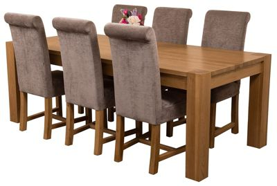 Kuba Chunky 220cm Kitchen Solid Oak Dining Set Table & 6 Grey Fabric Chairs