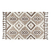 Homescapes Lhasa Handwoven Brown and Cream Textured Diamond Pattern Kilim Wool Rug, 90 x 150 cm