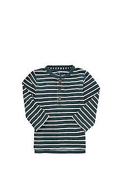 F&F Stripe Henley Neck Long Sleeve T-Shirt - Green