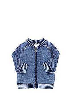 F&F Washed Knit Bomber Cardigan - Blue
