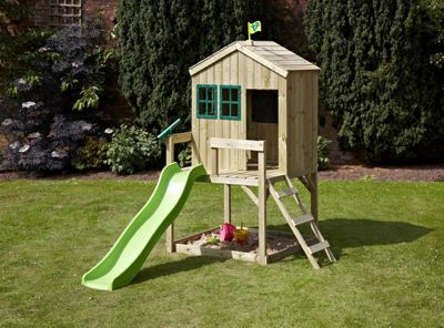 TP Forest Wooden Cottage Playhouse with Slide