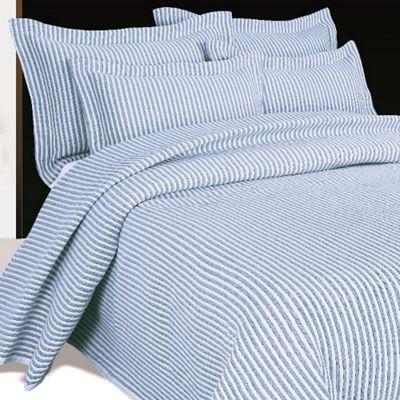 Moda De Casa Arctic Stripe Soft Touch Bedspread King Blue
