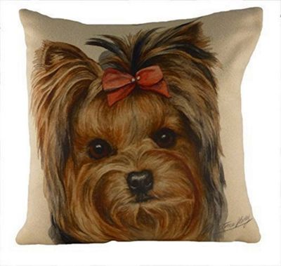Evans Lichfield WaggyDogz Yorkshire Terrier Yorkie Filled Cushion with Brown Country Check