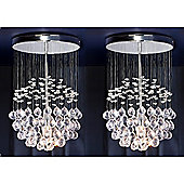 Pair of Denver Ceiling Light Chandeliers, Chrome