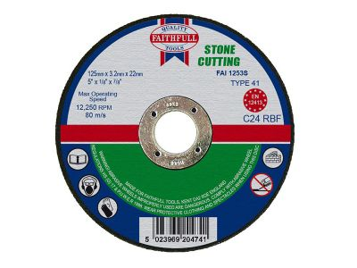 Faithfull Cut Off Disc for Stone 125 x 3.2 x 22mm