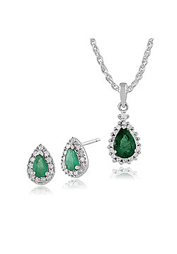 Gemondo 9ct White Gold Emerald & Diamond Pear Cluster Stud Earrings & 45cm Necklace Set