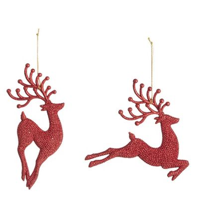 Red Sparkly Reindeer Decorations - Set Of Two