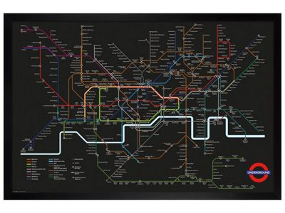 Black Wooden Framed Transport For London Black Map Poster 61 x 91.5cm