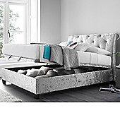 Happy Beds Mercury King Size Silver Velvet Ottoman Bed Frame