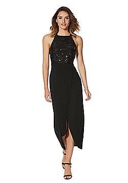 AX Paris Sequin Top Wrap Maxi Dress - Black