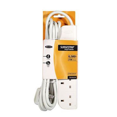 Belkin E-Series Power Surge Strip with Spike Protection 4-Way 3m Ref F9E400uk3m