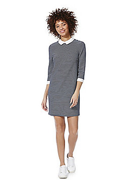 Only Contrast Collar Striped Dress - Navy