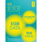 EE £15 Data Pack - 5GB of data, unlimited texts and 500 mins