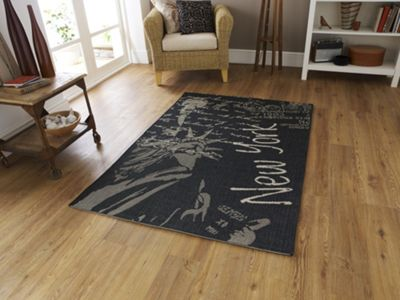 Oriental Carpets & Rugs Cottage New York Flat Weave Novelty Rug - 150cm L x 80cm W
