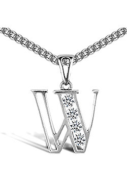 Sterling Silver Cubic Zirconia Identity Pendant - Initial W - 18inch Chain