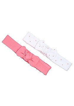F&F 2 Pack of Jersey Bow Headbands - Pink & White