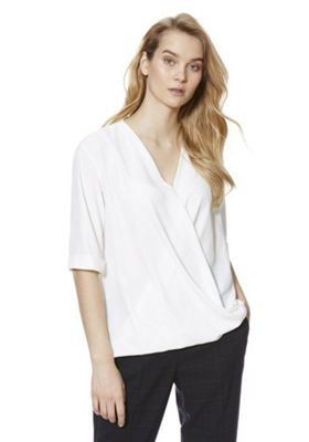 F&F Wrap Front Blouse Ivory 16