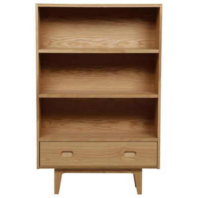Stockholm Bookcase with Drawer, Oak