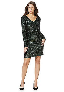 Vero Moda Ruched Sequin Dress - Green