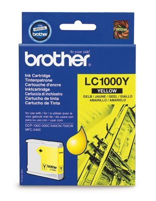 Brother LC1000Y Yellow Ink Cartridge (Yield 400 Pages)