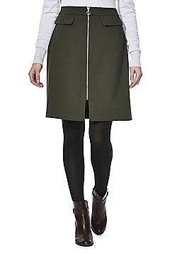 F&F Mock Pocket Zip-Through Skirt - Khaki