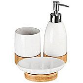 Earth - Bamboo + Ceramic Bathroom Soap /tumbler Set - White / Brown