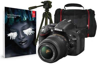 Nikon D5200 Black SLR Kit inc 18-55mm VR Lens, Case, Tripod & Adobe Lightroom