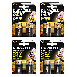 8 X Duracell MN1400 Plus Power C Size Batteries