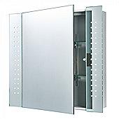 Mirrored Glass & Matt Silver Effect Paint Shaver Cabinet Mirror IP44 5W