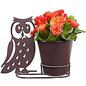 Small Plant Pot & Stand with Stunning Owl Silhouette