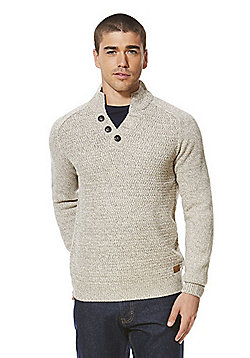 F&F Funnel Neck Textured Front Jumper - Neutral