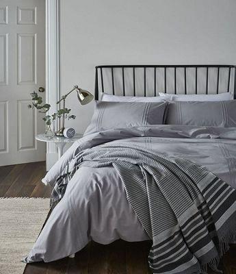 Catherine Lansfield Minimalist Easy Care Single Duvet Set Grey