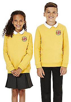 Unisex Embroidered Cotton Blend School Sweatshirt with As New Technology - Sunflower yellow