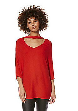 F&F Choker Neck Batwing Jumper with As New Technology - Red