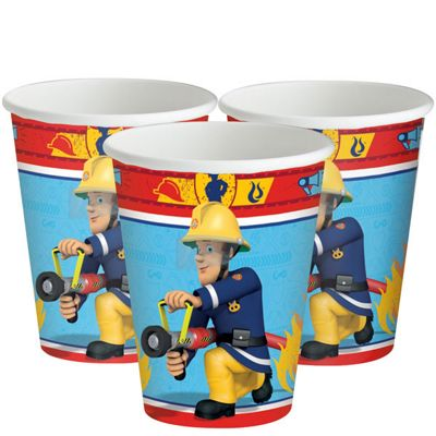 Fireman Sam Cups - 266ml Paper Party Cups - 8 Pack