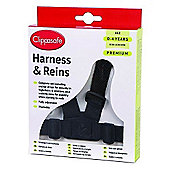 Clippasafe Adjustable Walking Harness & Reins (Black)