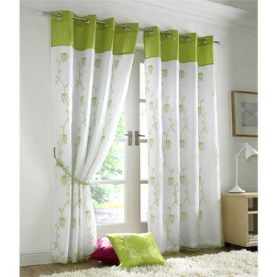 Alan Symonds Tahiti Lime Eyelet Curtains - 56x54 Inches (142x137cm)