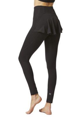 Back Frill Skirt Spin Cycle Leggings Black 3X
