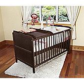 Isabella Cot Bed/Junior Bed/Pocket Sprung Mattress/Quilted Topper/Changer-Walnut