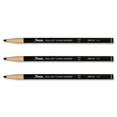 Sharpie China Wax Marker Pencil Peel-off Unwraps to Sharpen Black Ref S0305070 [Pack 12]