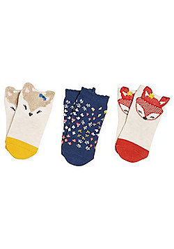 F&F 3 Pair Pack of Woodland and Floral Socks - Cream