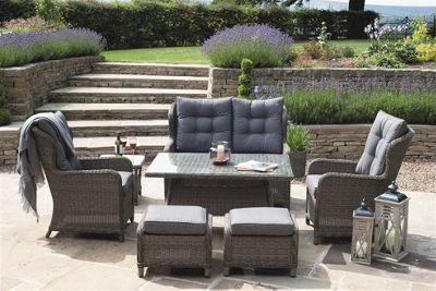 Charcoal Grey St Kitts 8 Piece Relaxed Dining Set