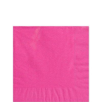 Hot Pink Napkins - Paper Beverage Napkins - 100 Pack