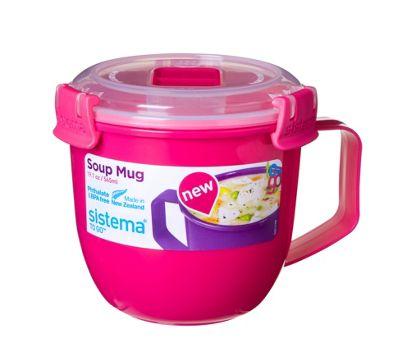 Sistema Klip It Microwave Soup To Go Mug, 565ml, Pink