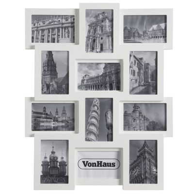 VonHaus White Wooden 12 Multi Aperture Photo Frame