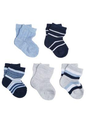 F&F 5 Pair Pack of Stripe Socks 6-12 months Blue