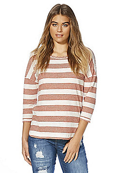 F&F Linen Blend Striped Top - Red