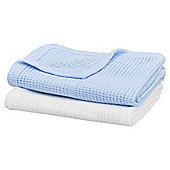 Moses Basket Cellular Blanket, White & Blue 2 pack