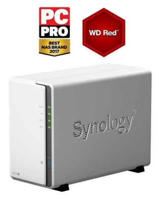 Synology DiskStation DS218j/2TB-RED entry-level 2-bay 2TB(2x1TB WD RED) NAS for home and personal cloud storage
