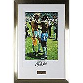 Hand Signed Pele Brazil Framed Print Photo - Football Legend & Bobby Moore- COA
